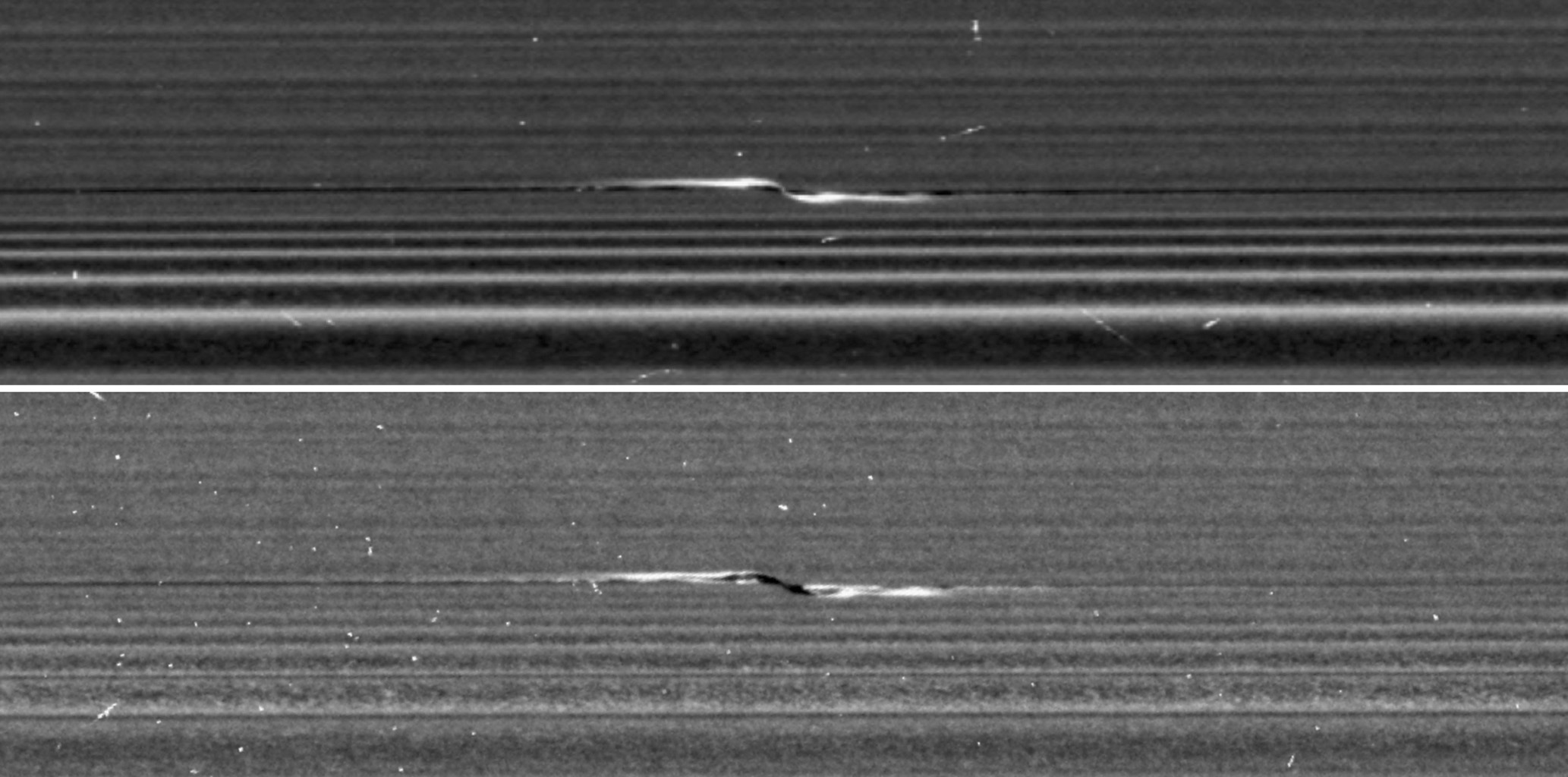 NASA's Cassini spacecraft captured these remarkable views of a propeller feature in Saturn's A ring on Feb. 21, 2017. These are the sharpest images taken of a propeller (nickedname 'Santos-Dumond') so far.