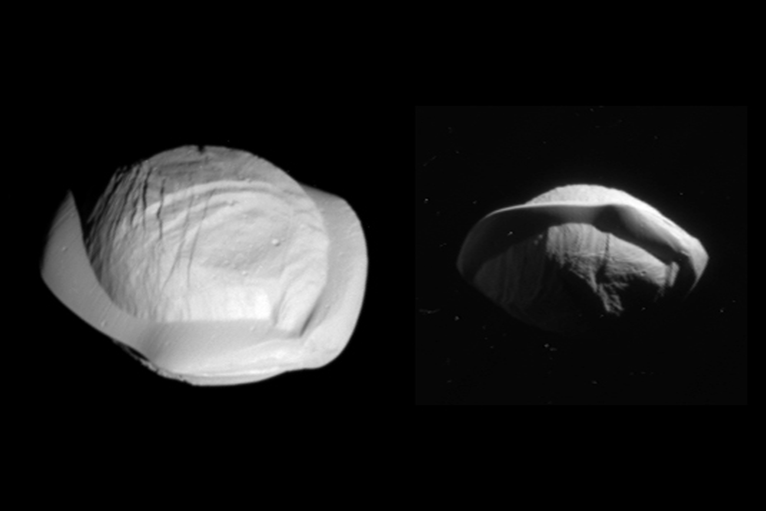 These two images from NASA's Cassini spacecraft show how the spacecraft's perspective changed as it passed within 15,300 miles (24,600 kilometers) of Saturn's moon Pan on March 7, 2017, Cassini's closest encounter.