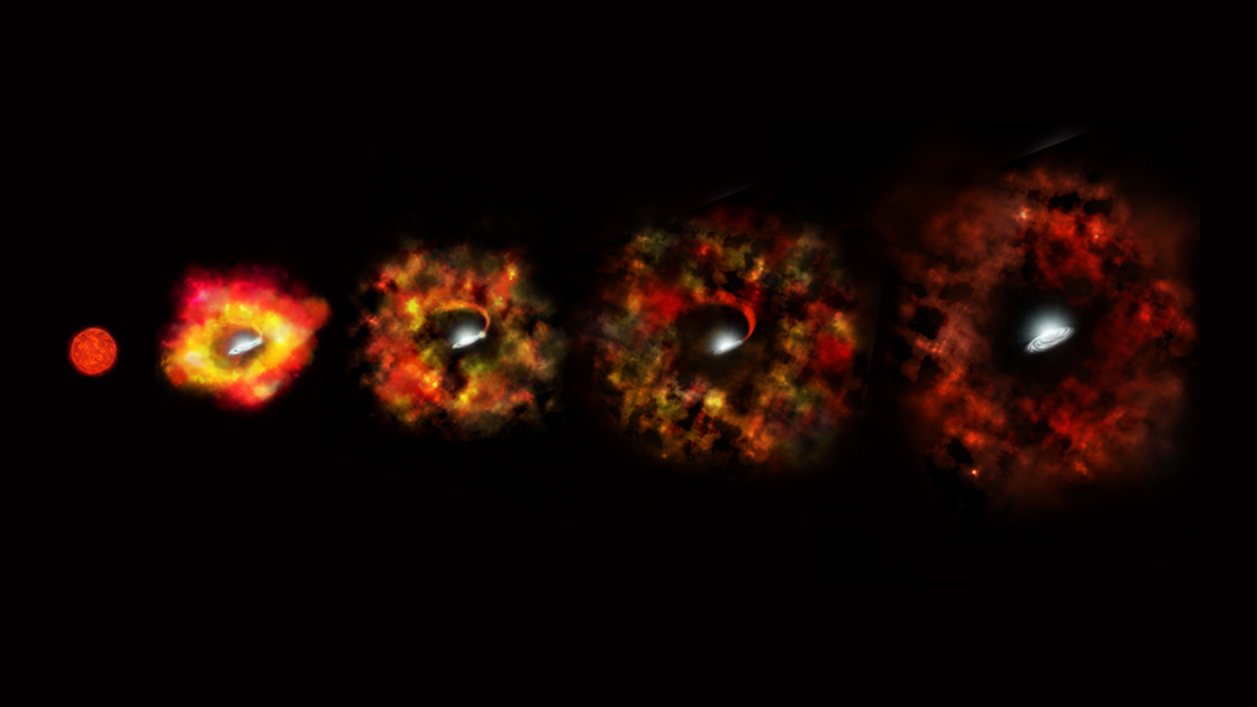 This illustration shows the final stages in the life of a supermassive star that fails to explode as a supernova, but instead implodes to form a black hole.