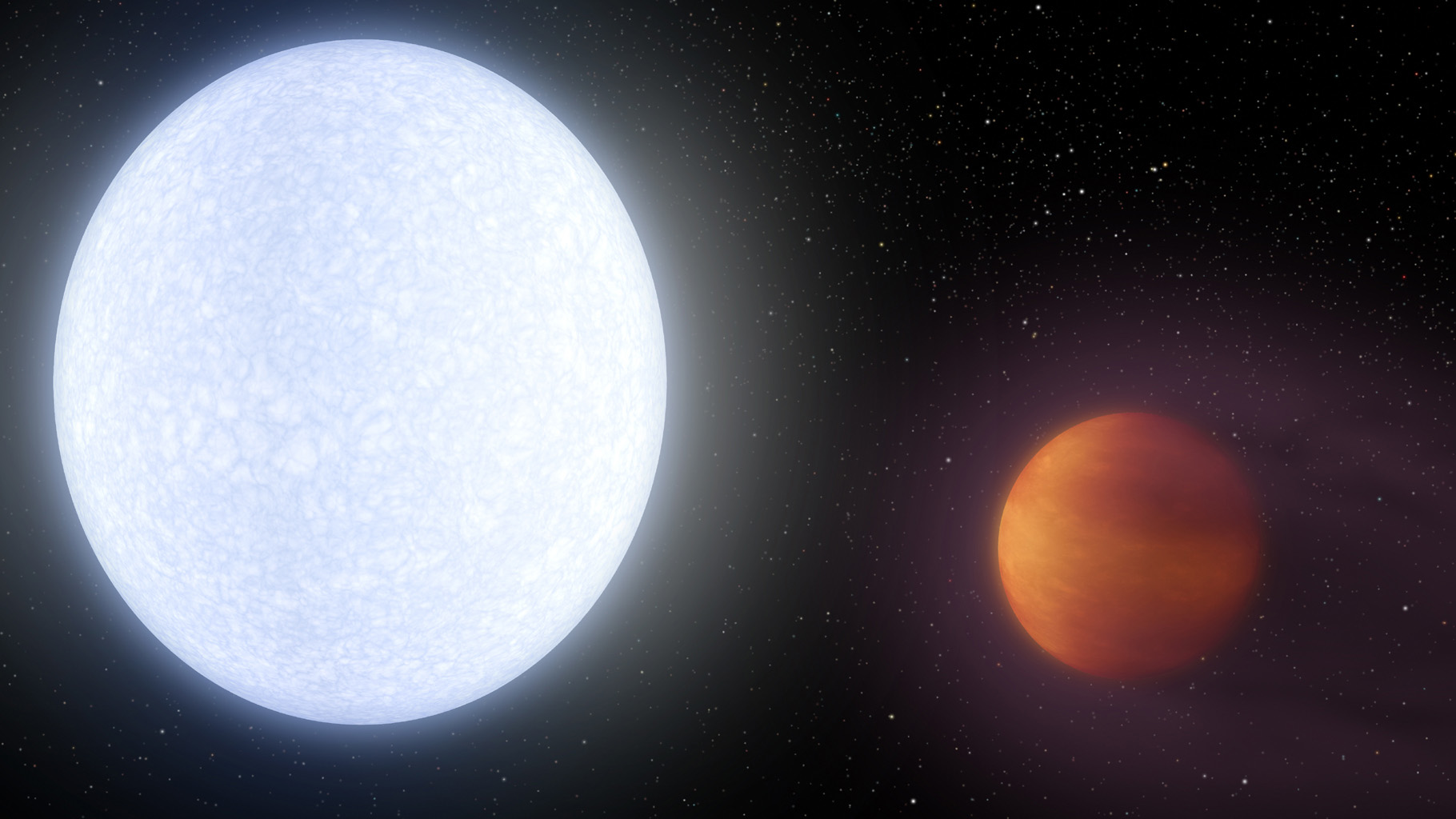This artist's concept shows planet KELT-9b orbiting its host star, KELT-9. It is the hottest gas giant planet discovered so far.
