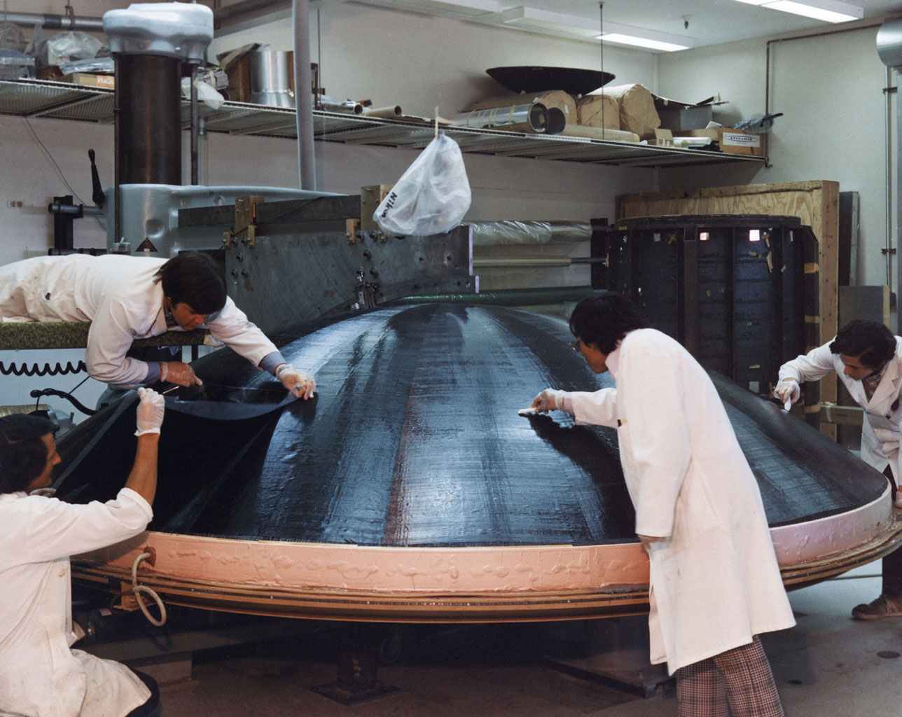 Engineers are engaged in the construction of a high gain antenna for one of NASA's Voyager spacecraft in This archival photo taken on October 29, 1975.