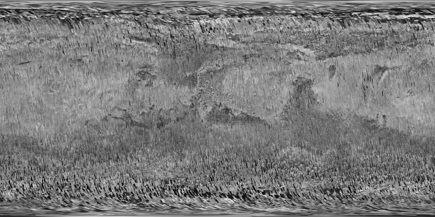 This mosaic from the Context Camera onboard NASA's Mars Reconnaissance Orbiter spacecraft offers a resolution that enables zooming in for more detail of any region of Mars.