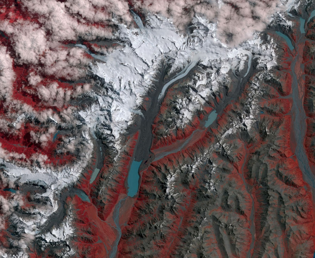 New Zealand contains over 3,000 glaciers, most of which are in the Southern Alps on the South Island. Since 1890, the glaciers have been retreating, with short periods of small advances, as shown in this image from NASA's Terra spacecraft.