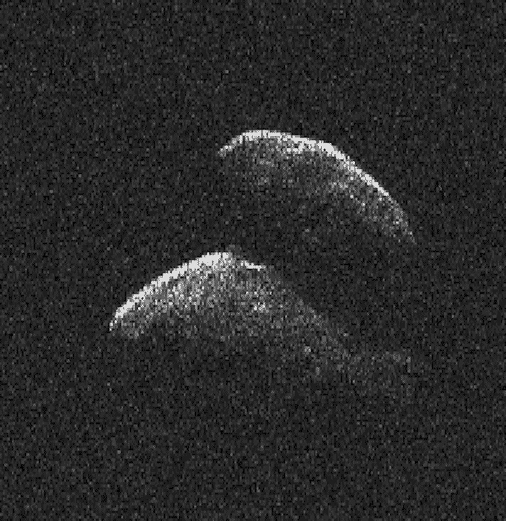 This frame from a movie of asteroid 2014 JO25 was generated using radar data collected by NASA's 230-foot-wide (70-meter) Deep Space Network antenna at Goldstone, California on April 19, 2017.