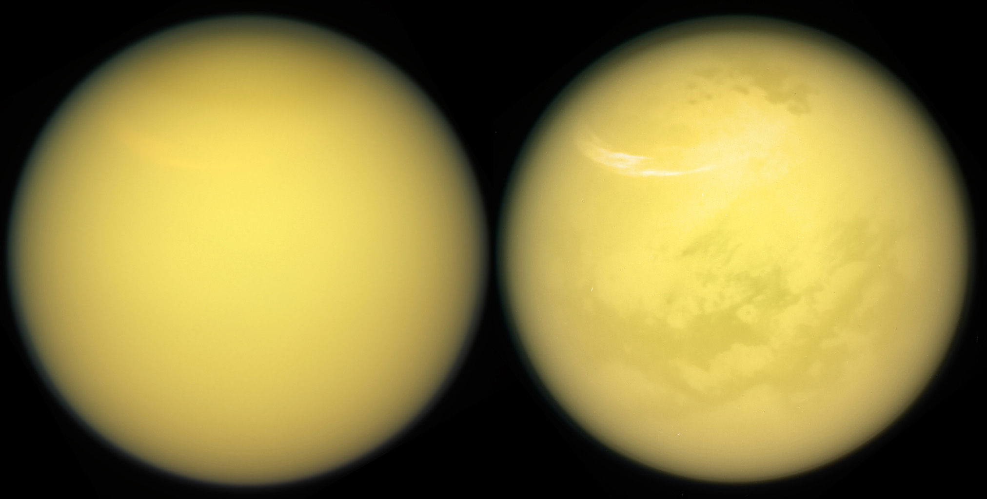 These two views of Saturn's moon Titan exemplify how NASA's Cassini spacecraft has revealed the surface of this fascinating world.