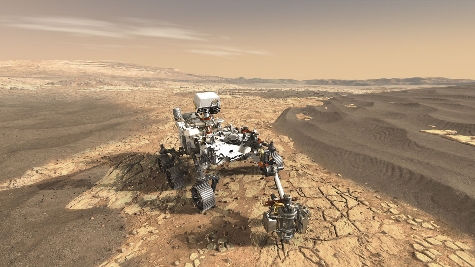 This artist's concept depicts NASA's Mars 2020 rover on the surface of Mars. The mission takes the next step by not only seeking signs of habitable conditions on Mars in the ancient past, but also searching for signs of past microbial life itself.