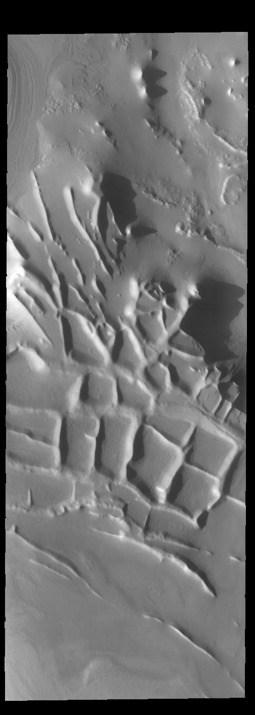 This image captured by NASA's 2001 Mars Odyssey spacecraft shows the region near the south polar cap called Angustus Labyrinthus, which is defined by the linear ridges.