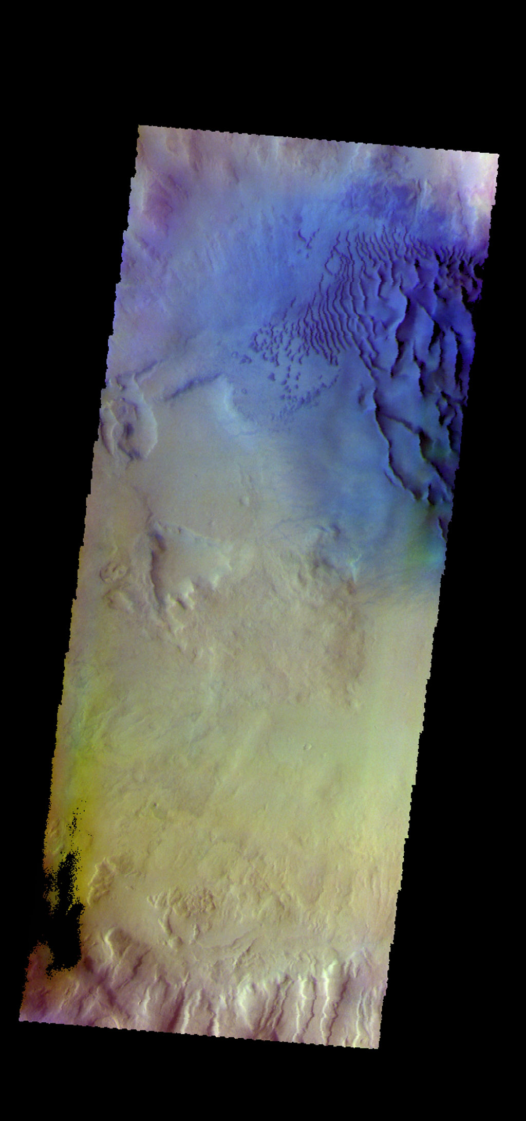 The THEMIS camera contains 5 filters. Data from different filters can be combined in many ways to create a false color image. This image from NASA's 2001 Mars Odyssey spacecraft shows dunes on the floor of an unnamed crater in Noachis Terra.