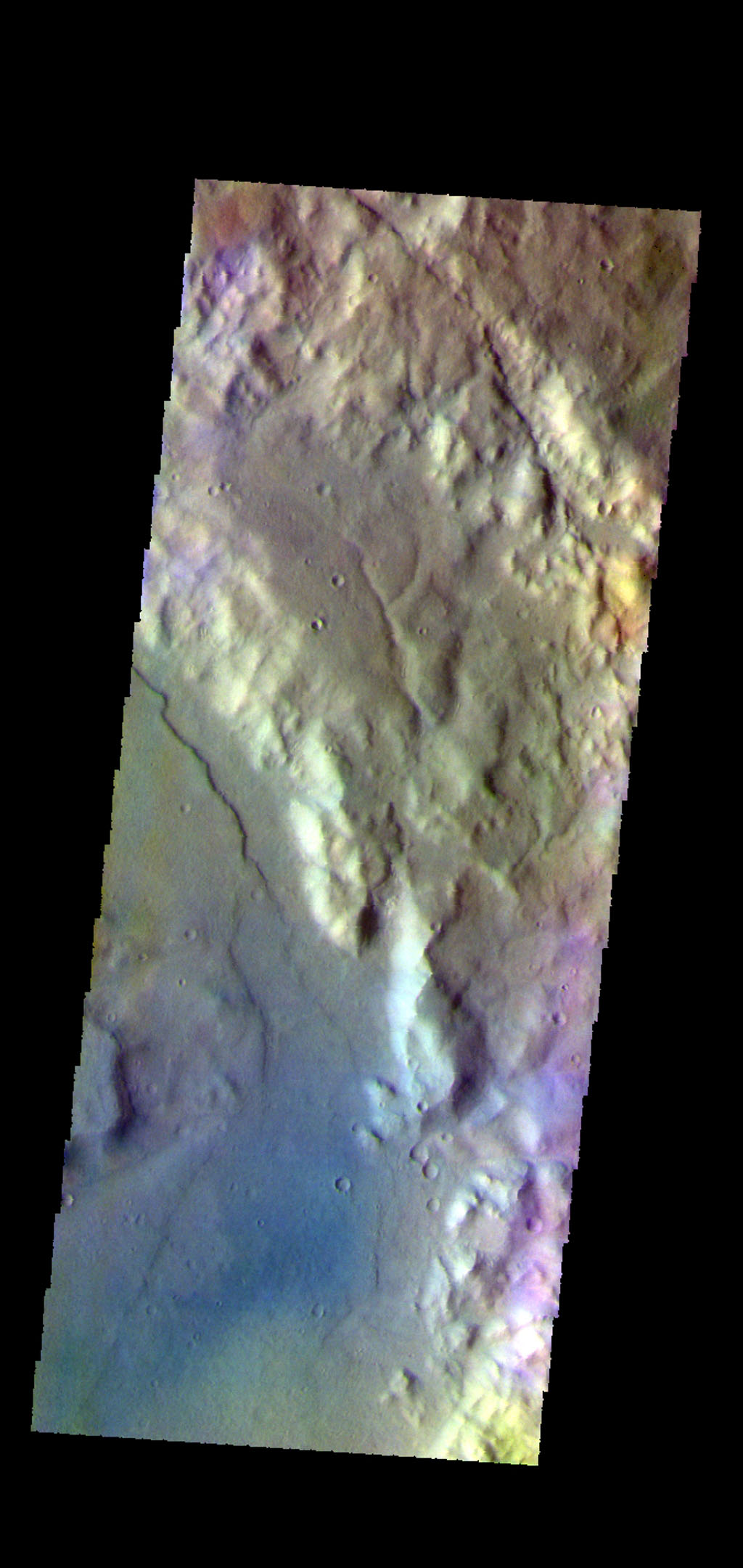 The THEMIS camera contains 5 filters. Data from different filters can be combined in many ways to create a false color image. This image from NASA's 2001 Mars Odyssey spacecraft shows part of the plains and craters in Terra Sirenum.