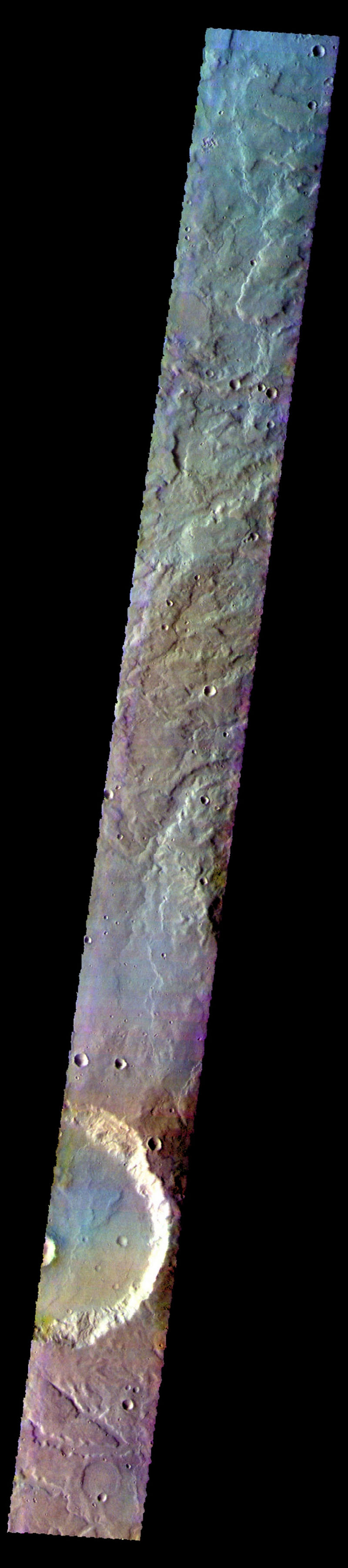 The THEMIS camera contains 5 filters. Data from different filters can be combined in many ways to create a false color image. This image from NASA's 2001 Mars Odyssey spacecraft shows part of the plains and craters of Terra Cimmeria.