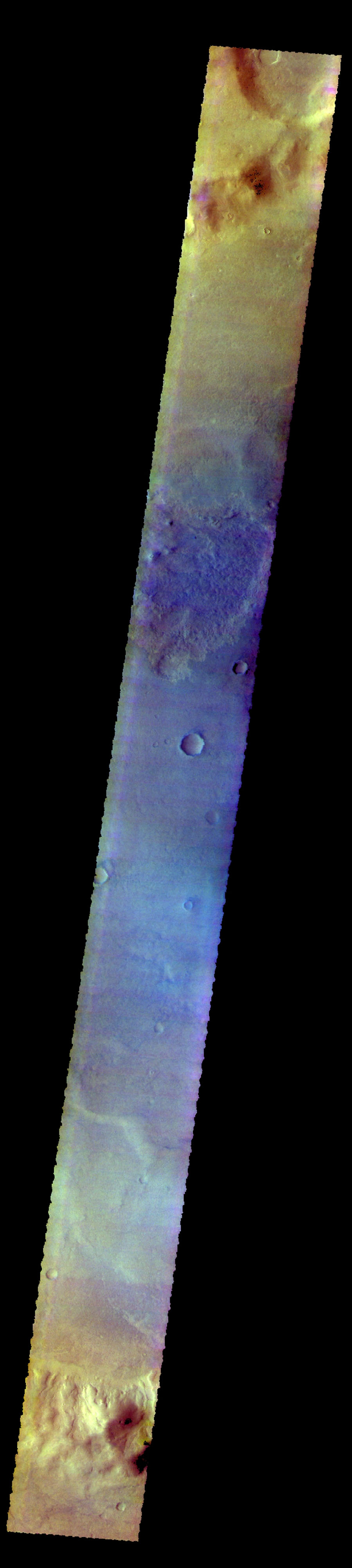 The THEMIS camera contains 5 filters. Data from different filters can be combined in many ways to create a false color image. This image from NASA's 2001 Mars Odyssey spacecraft shows part of Proctor Crater in Noachis Terra.