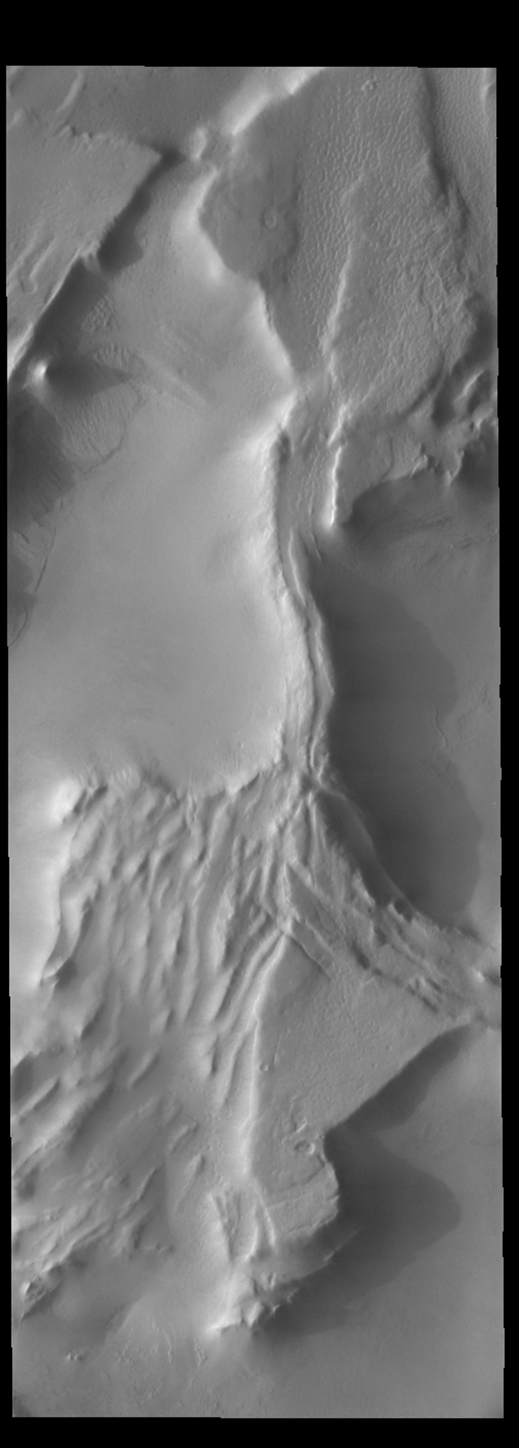 The ridges in this image from NASA's 2001 Mars Odyssey spacecraft are creating shadows due to low sun angle.