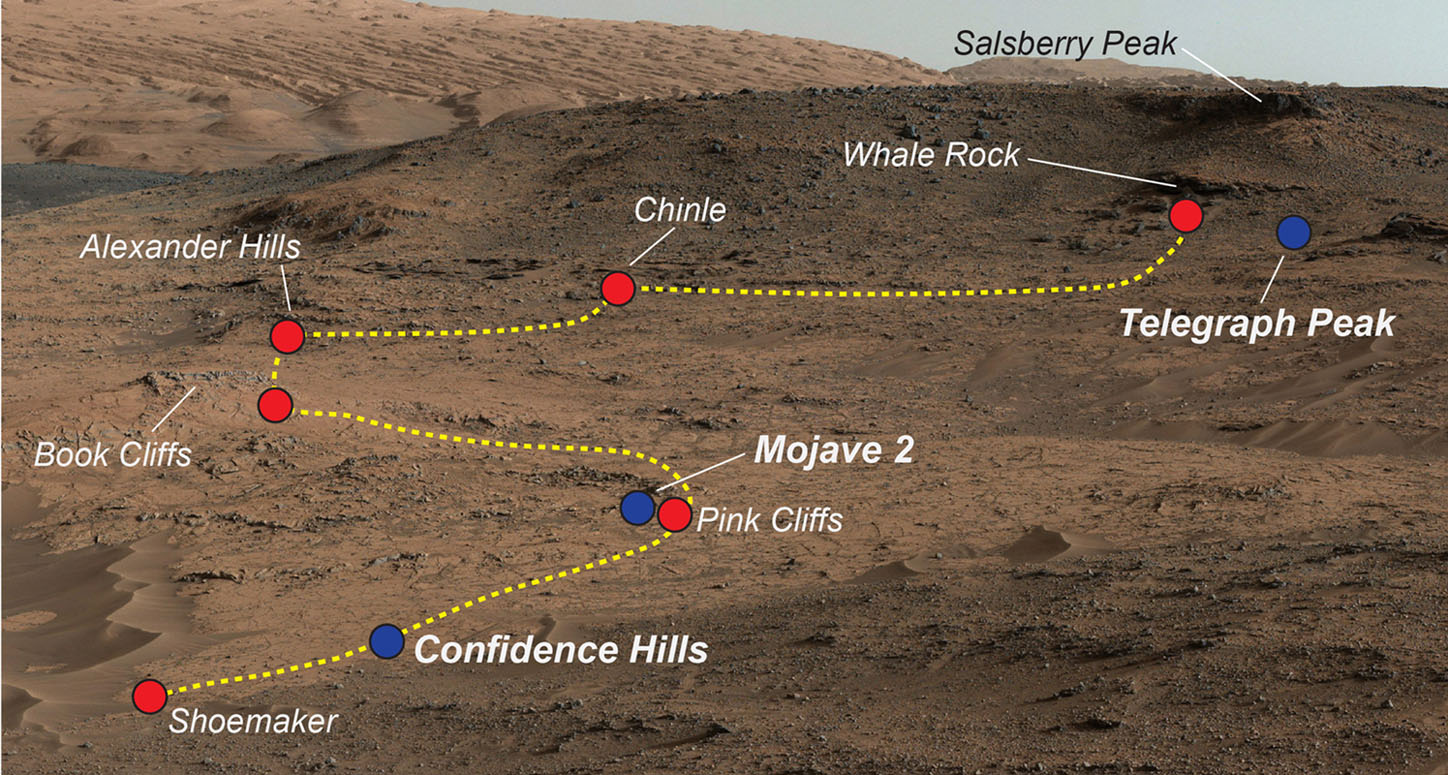 Space Images   Key Locations Studied at 'Pahrump Hills' on ...