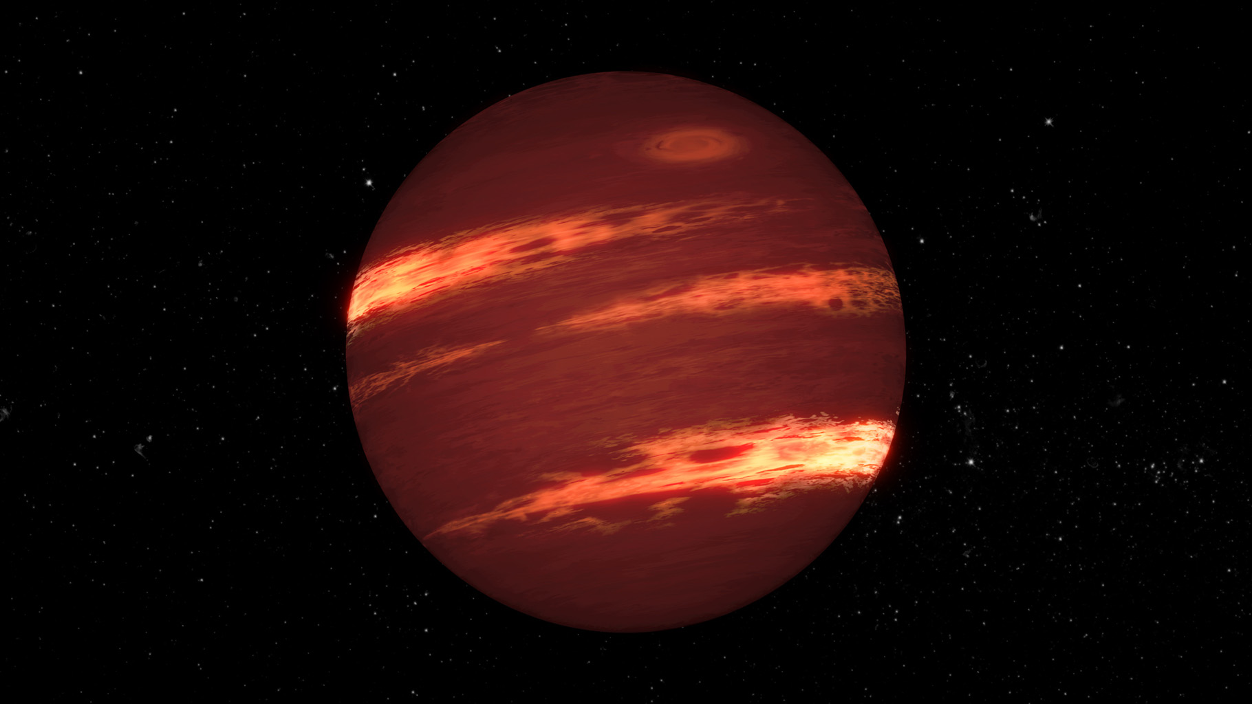 By using NASA's Spitzer Space Telescope, astronomers have found that the varying glow of brown dwarfs over time can be explained by bands of patchy clouds rotating at different speeds, as shown in this artist's concept.