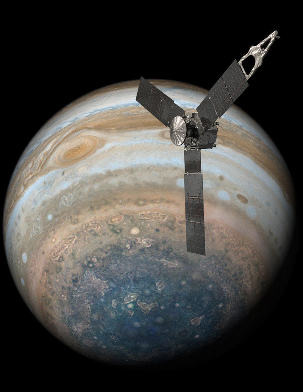 Space Images | Juno Over Jupiter's South Pole (Illustration)