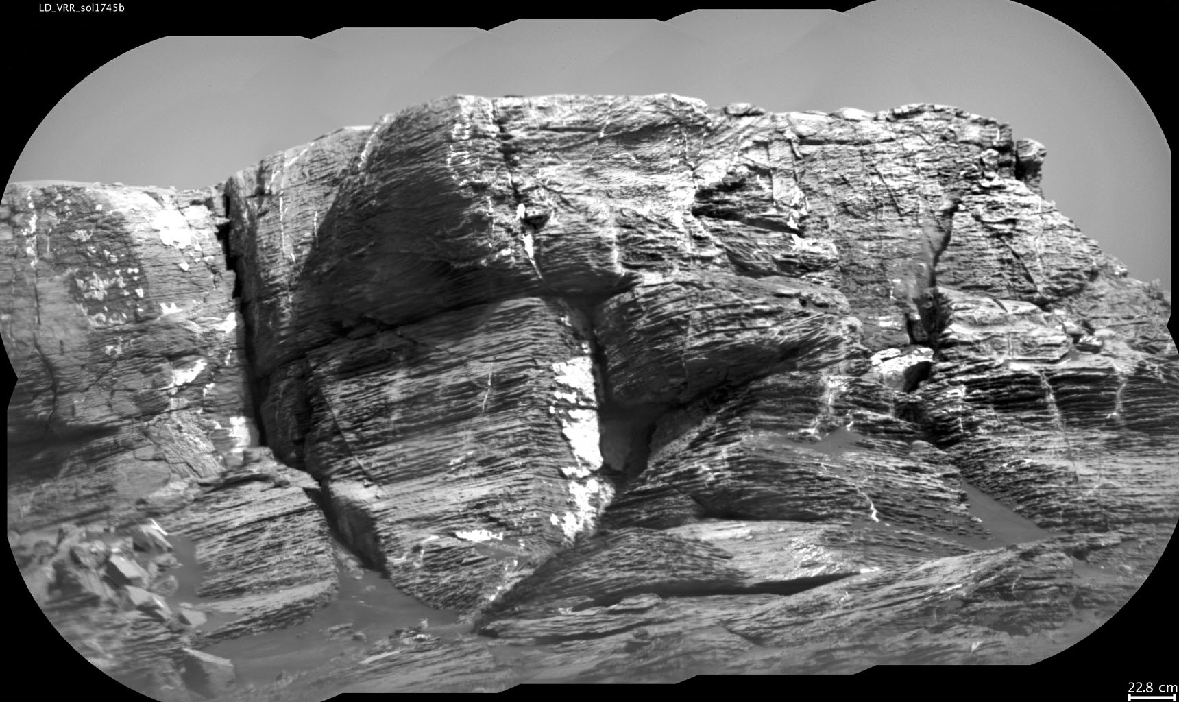 This view of 'Vera Rubin Ridge' from the ChemCam instrument on NASA's Curiosity Mars rover shows multiple sedimentary layers and fracture-filling deposits of minerals.