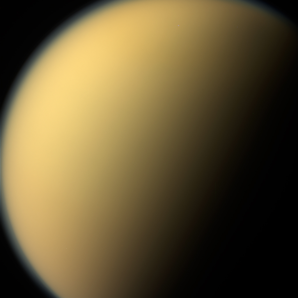 As it glanced around the Saturn system one final time, NASA's Cassini spacecraft captured this view of the planet's giant moon Titan. These views were obtained by Cassini on Sept. 13, 2017. They are among the last images Cassini sent back to Earth.