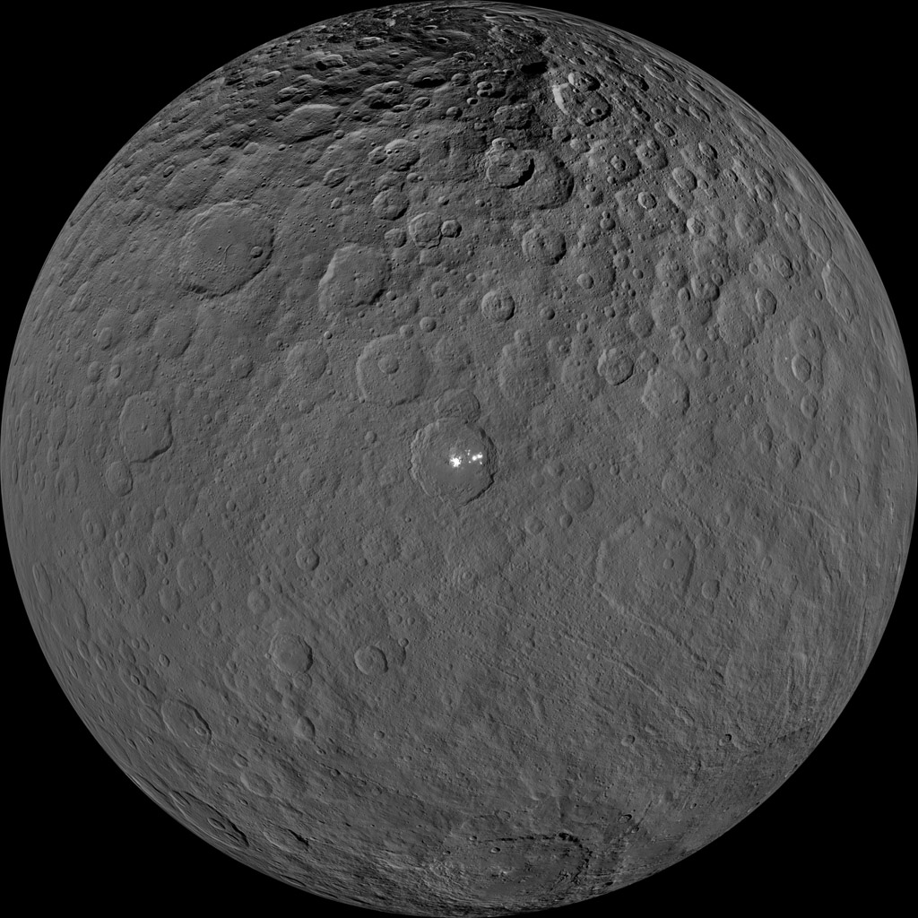 This orthographic projection shows dwarf planet Ceres as seen by NASA's Dawn spacecraft. The projection is centered on Occator Crater, home to the brightest area on Ceres.