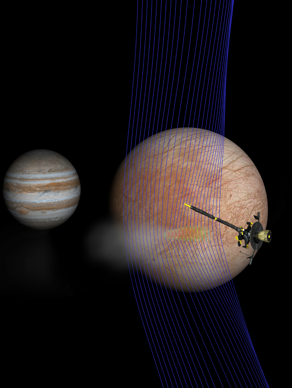 Artist's illustration of Jupiter and Europa (in the foreground) with the Galileo spacecraft after its pass through a plume erupting from Europa's surface.
