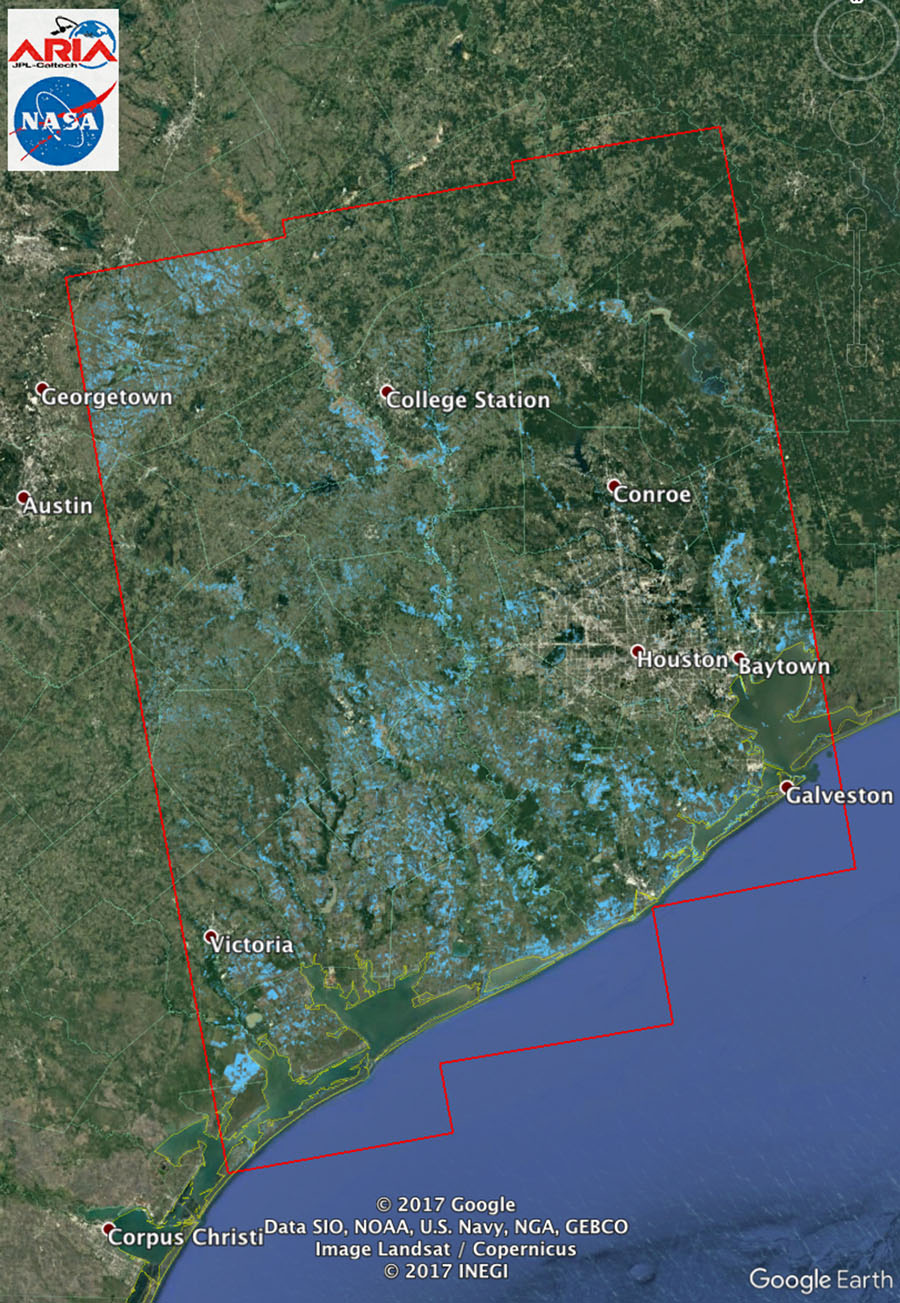 Space Images New NASA Satellite Flood Map Of Southeastern Texas - Satellite map of texas