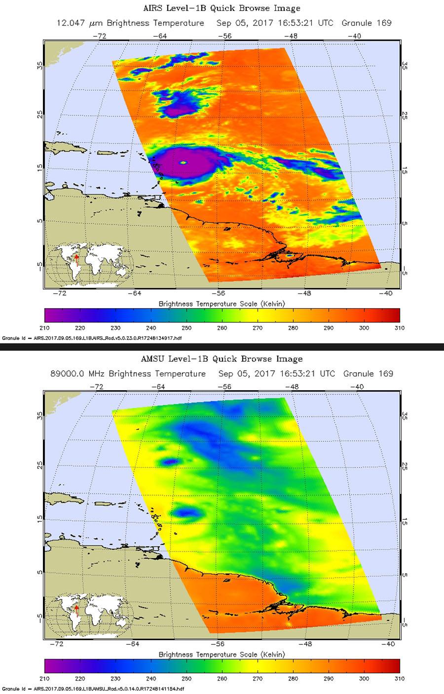 NASA's Aqua satellite shows what Hurricane Irma looked like when Aqua passed overhead just before 1 p.m. local time on Sept. 5, 2017.