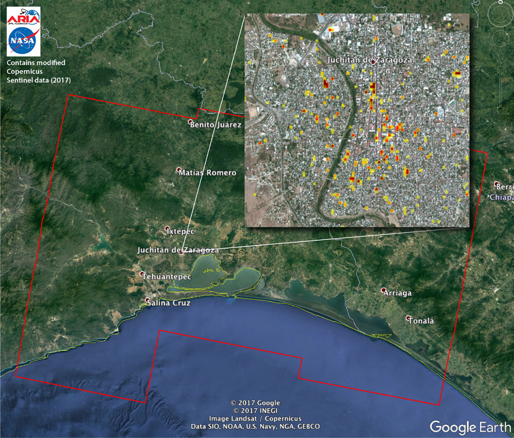 this damage proxy map dpm depicts areas of southern mexico that are likely damaged