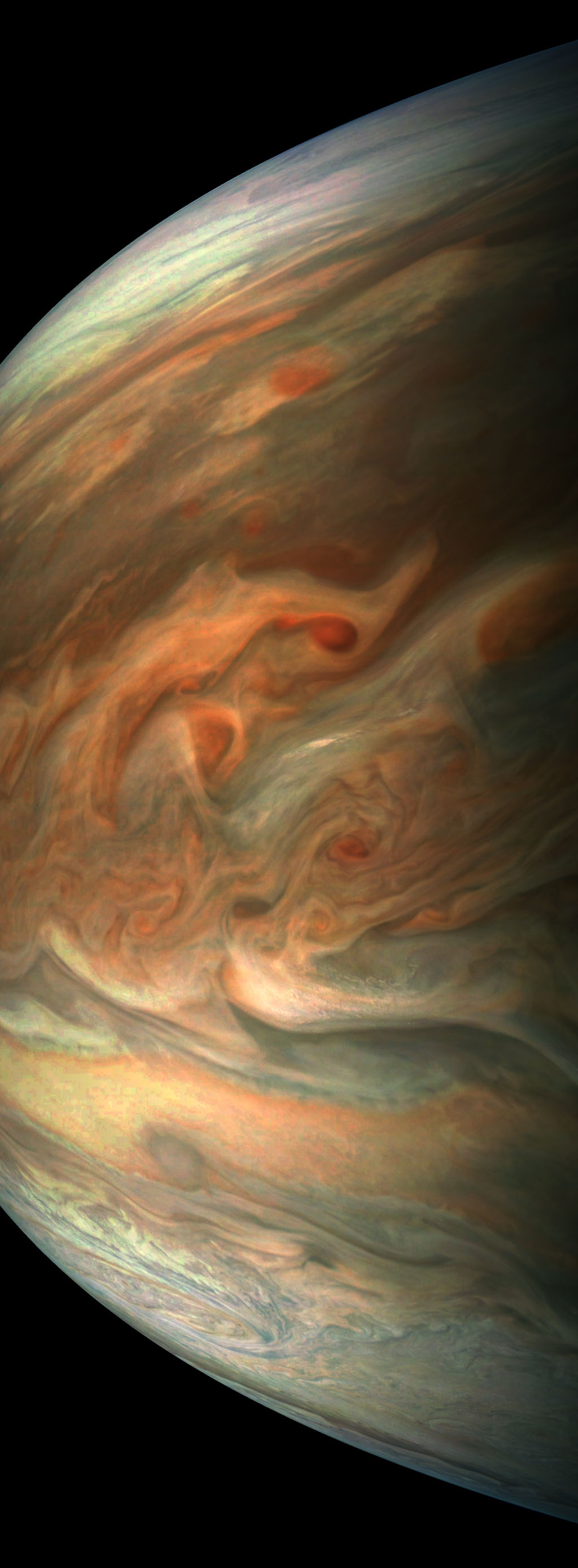 This striking image of Jupiter was captured on Sept. 1, 2017 by NASA's Juno spacecraft as it performed its eighth flyby of the gas giant planet.