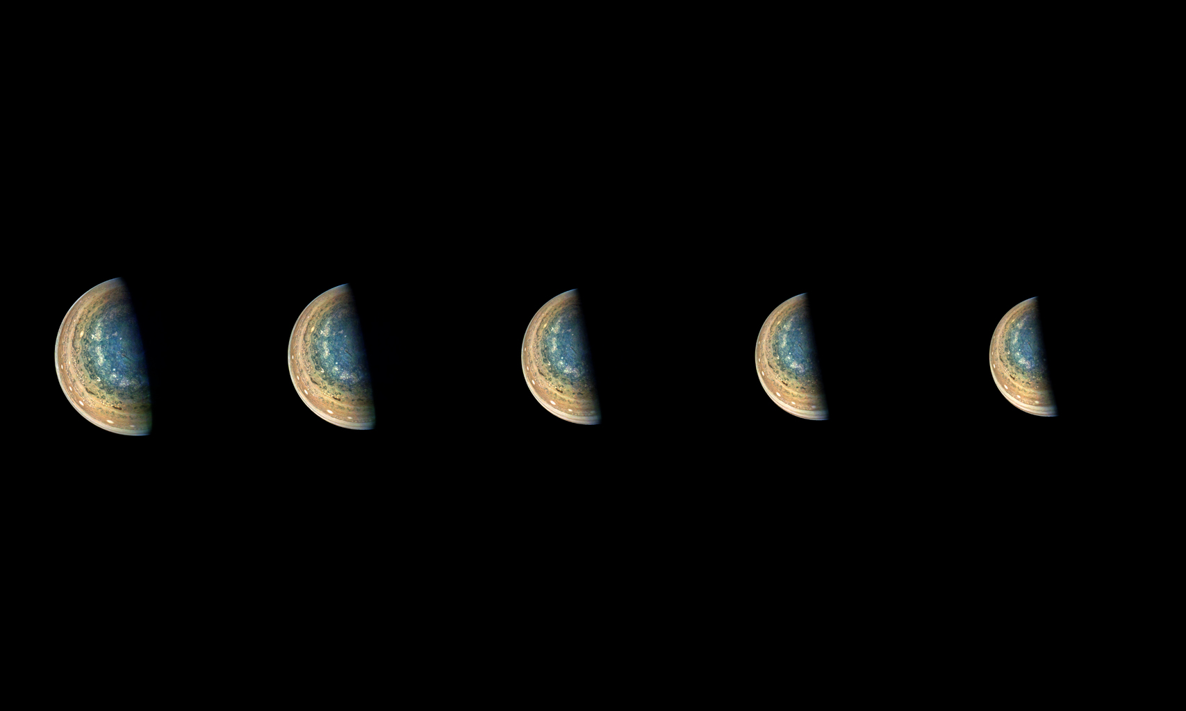 This series of images from NASA's Juno spacecraft taken on Feb. 7, 2018 captures cloud patterns near Jupiter's south pole, looking up towards the planet's equator.