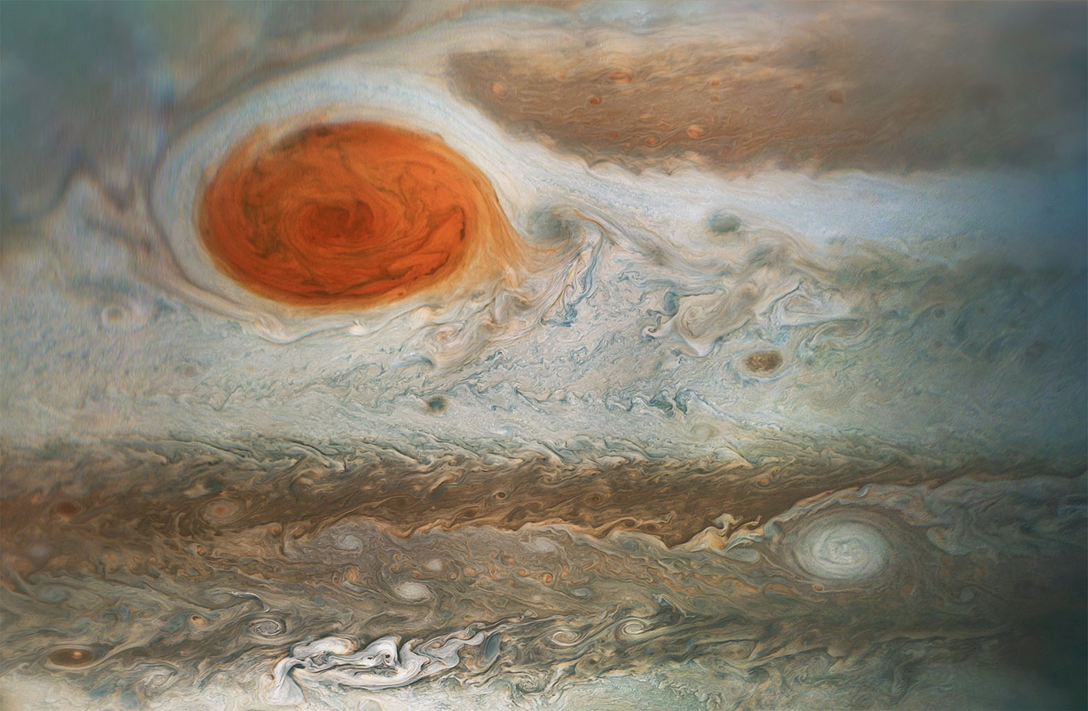 This image of Jupiter's iconic Great Red Spot and surrounding turbulent zones was captured by NASA's Juno spacecraft on April 1, 2018.