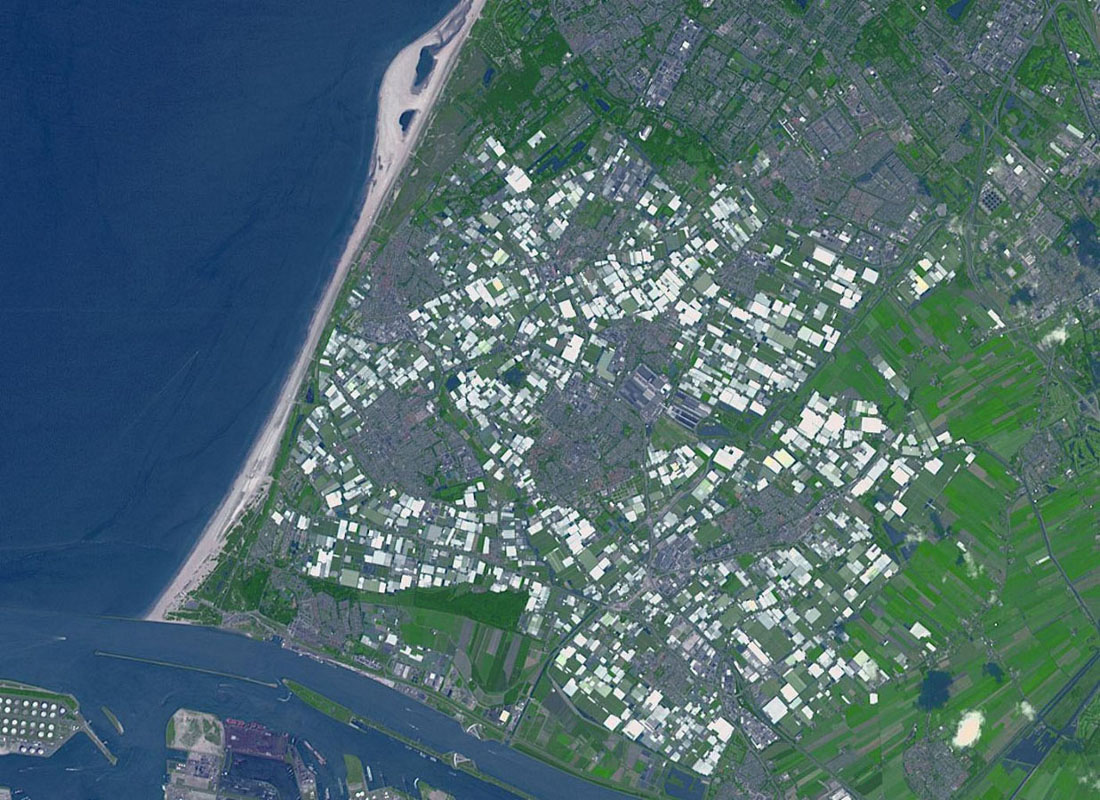 Westland in the Netherlands is the greenhouse capital of the world. It is the number two exporter of food as measured by value, second only to the United States. This image from NASA's Terra spacecraft was acquired on June 12, 2014.