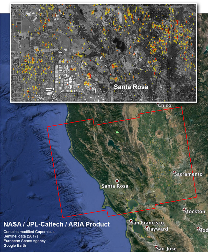 The ARIA team at NASA's JPL created this Damage Proxy Map depicting areas in Northern California that are likely damaged (shown by red and yellow pixels) as a result of the region's current outbreak of wildfires (including Santa Rosa).