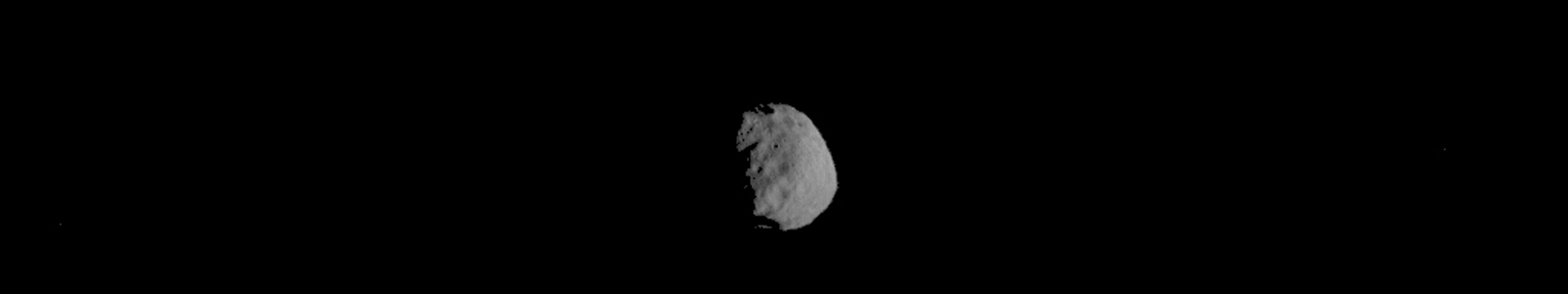 This image of Phobos is one product of the first pointing at the Martian moon by the THEMIS camera on NASA's Mars Odyssey orbiter. The Sept. 29, 2017, observation also provided information about temperatures on different areas of Phobos.