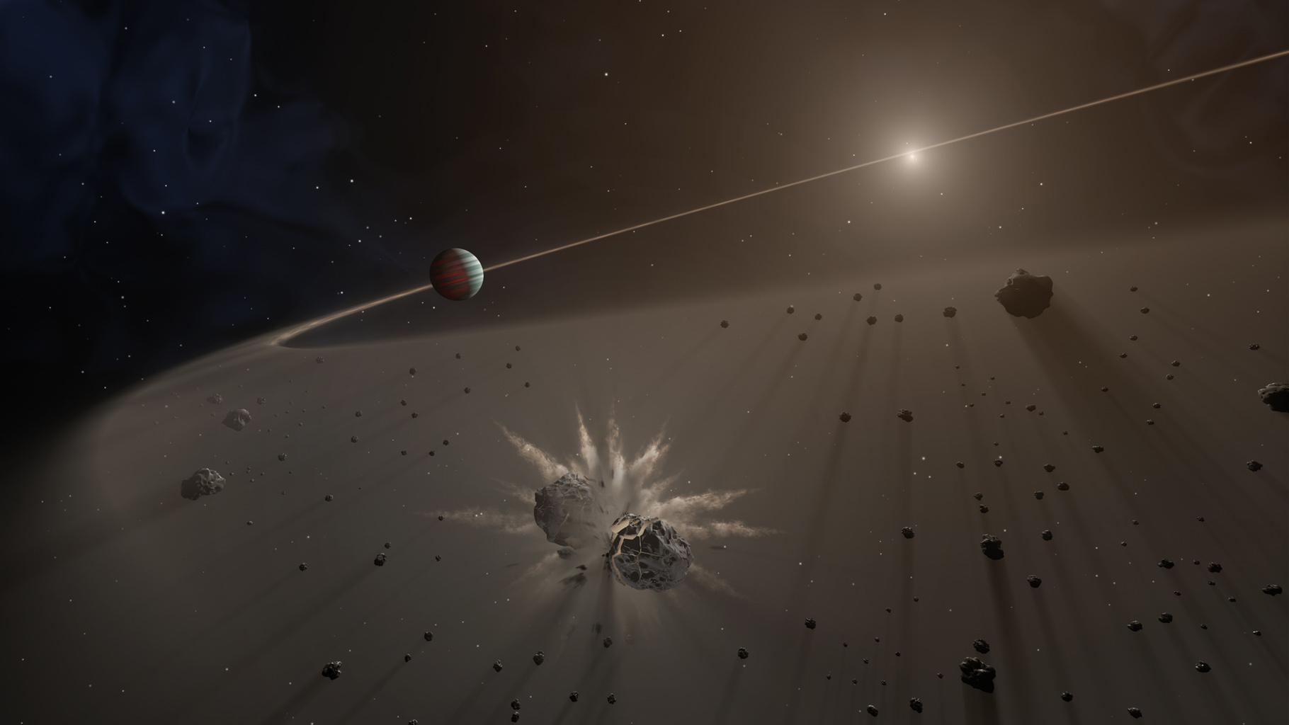 This artist's rendering shows a large exoplanet causing small bodies to collide in a disk of dust.