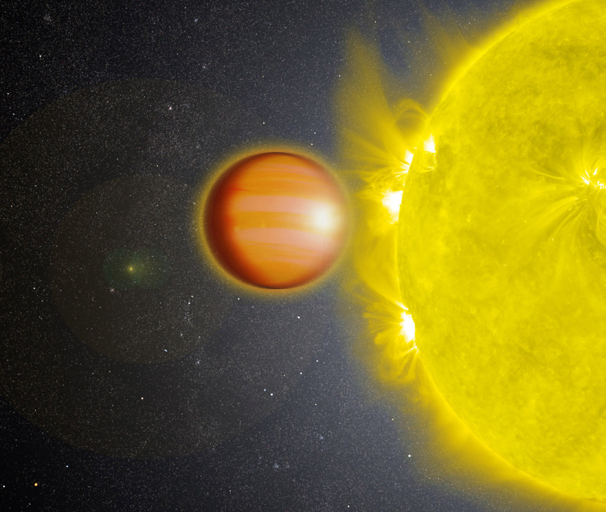 A NASA-led team of scientists determined that WASP-18b, a 'hot Jupiter' located 325 light-years from Earth, has a stratosphere that's loaded with carbon monoxide, but has no signs of water.