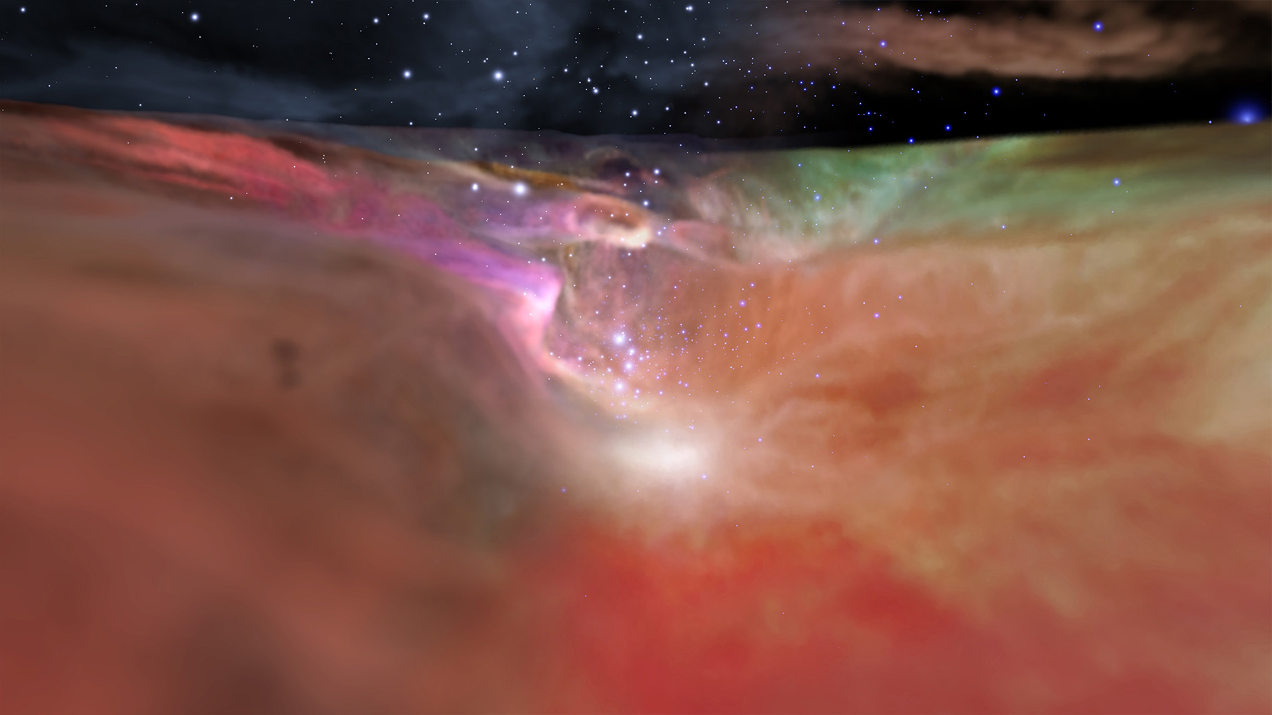 This image showcases both the visible and infrared visualizations of the Orion Nebula. Image Credit: NASA, ESA, F. Summers, G. Bacon, Z. Levay, J. DePasquale, L. Frattare, M. Robberto and M. Gennaro of STScI, and R. Hurt of Caltech/IPAC