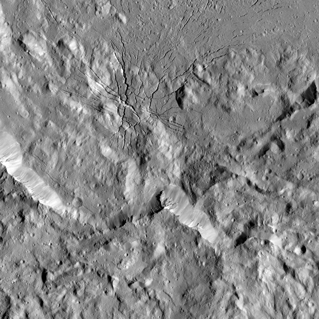 This image taken on August 17, 2016 from NASA's Dawn spacecraft shows a complex set of fractures found in the southwestern region of the floor of Occator Crater on Ceres.