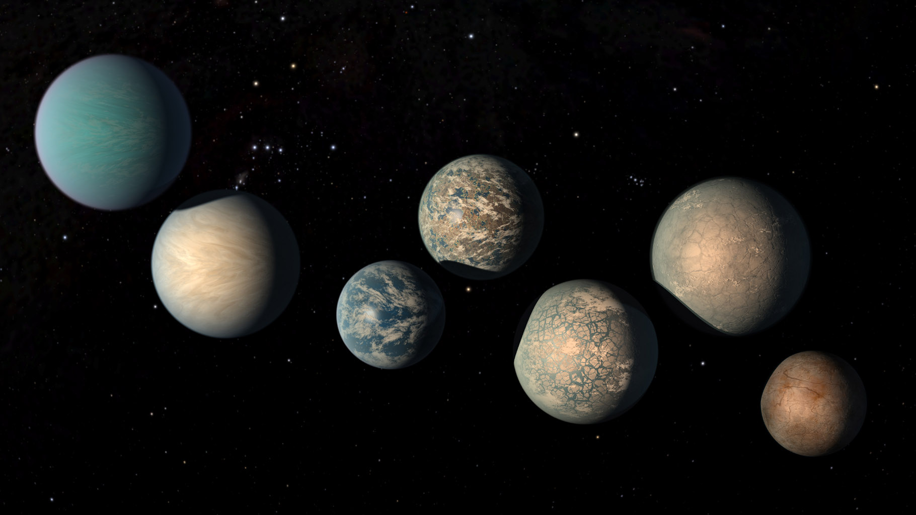 This illustration shows the seven Earth-size planets of TRAPPIST-1. The image does not show the planets' orbits to scale, but highlights possibilities for how the surfaces of these intriguing worlds might look.