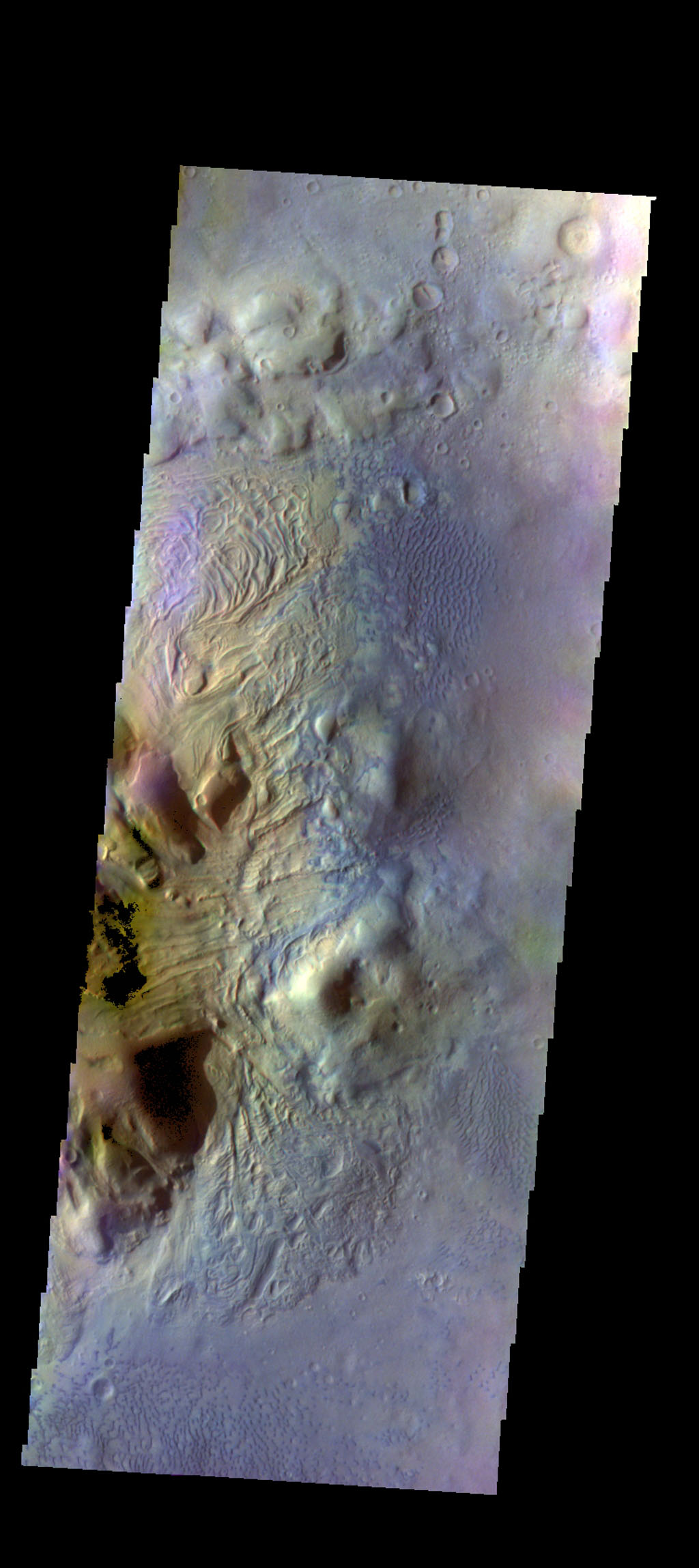 This image of Moreux Crater shows the eastern side of the central peak, as well as the nearby sand dunes. In this false color image from NASA's 2001 Mars Odyssey spacecraft sand dunes are 'blue'.