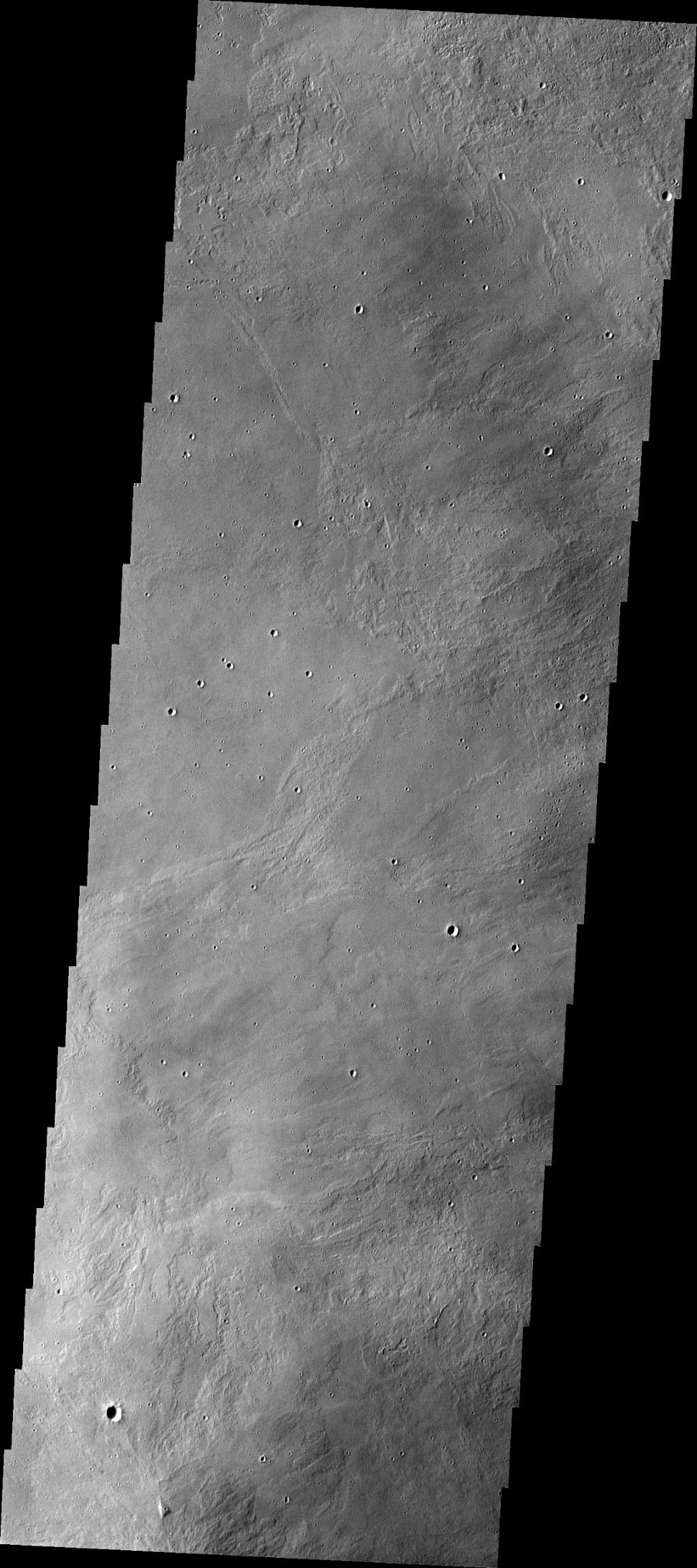 This image from NASA's 2001 Mars Odyssey spacecraft shows part of the caldera floor of Arsia Mons. It is not uncommon for calderas to have 'flat' floors after the final explosive eruption that empties the subsurface magma chamber.