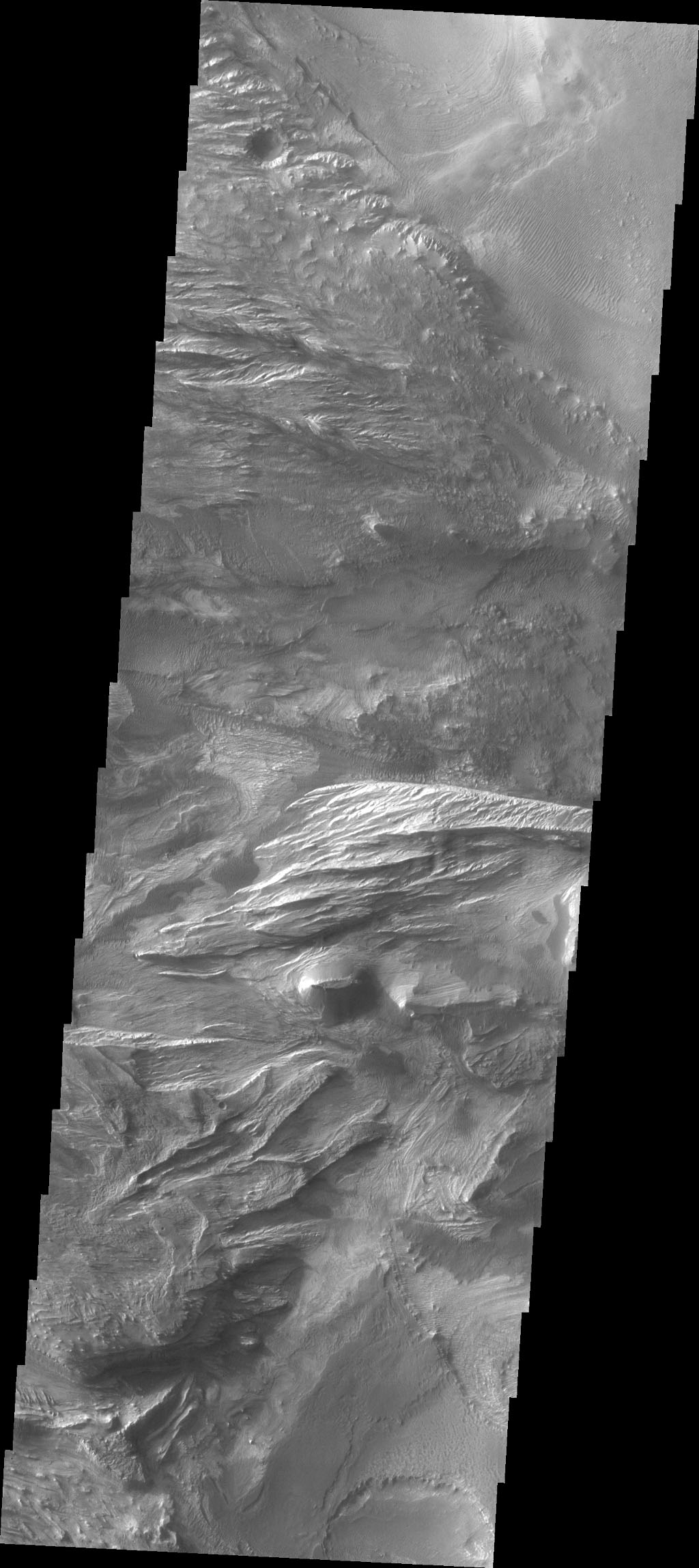 Candor Chasma is one of the largest canyons that make up Valles Marineris. This image captured by NASA's 2001 Mars Odyssey spacecraft shows part of western Candor and the erosion of a large mesa.