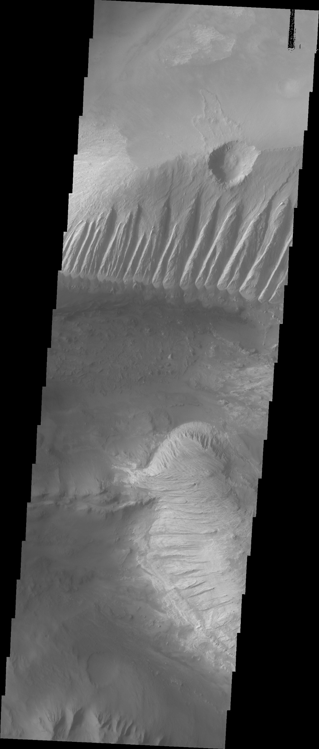 This image captured by NASA's 2001 Mars Odyssey spacecraft shows part of eastern Candor Chasma. In the middle of the image is a set of linear ridges and valleys.