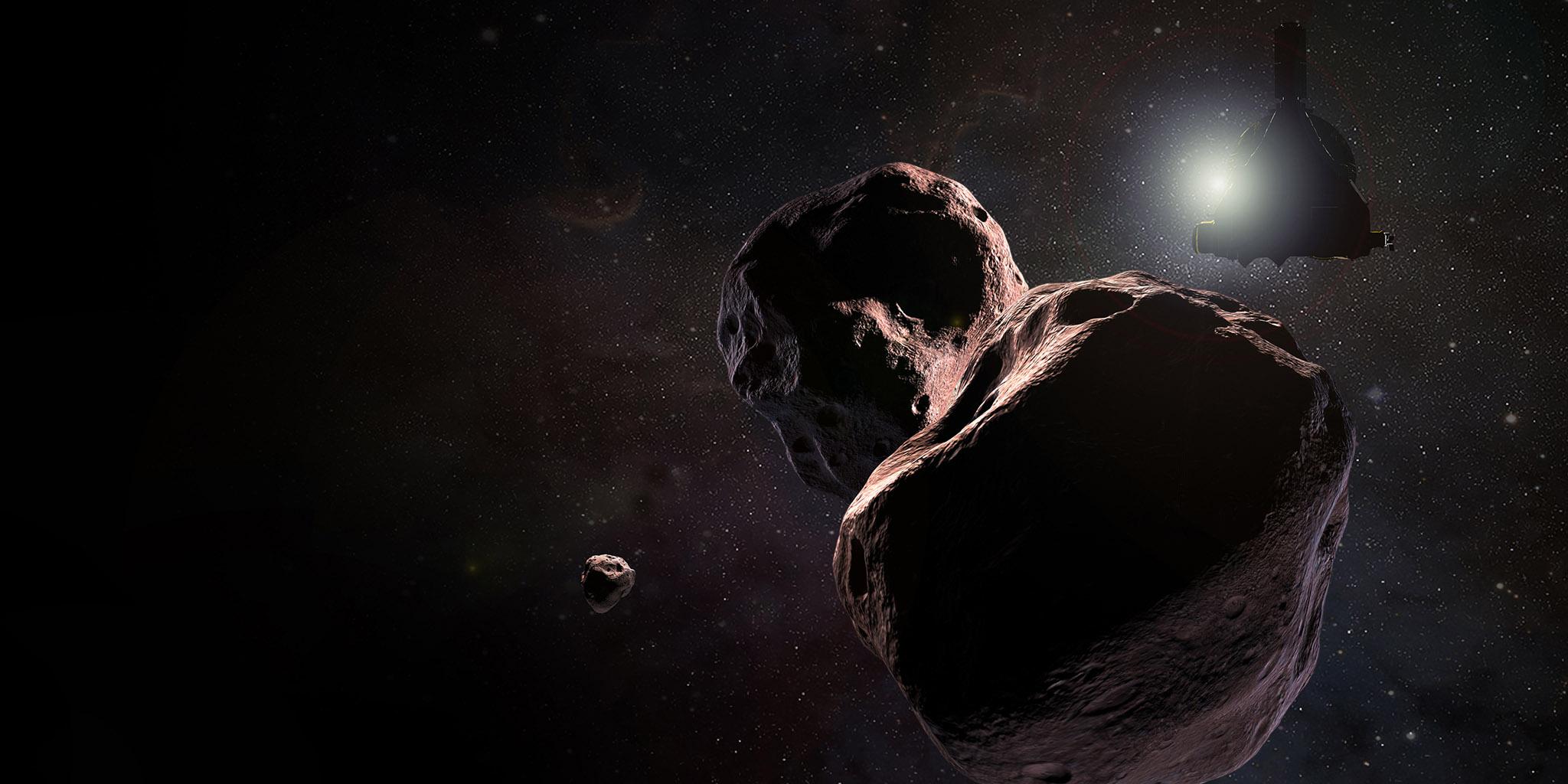 This artist's impression is of NASA's New Horizons spacecraft encountering 2014 MU69, a Kuiper Belt object that orbits one billion miles (1.6 billion kilometers) beyond Pluto, on Jan. 1, 2019.