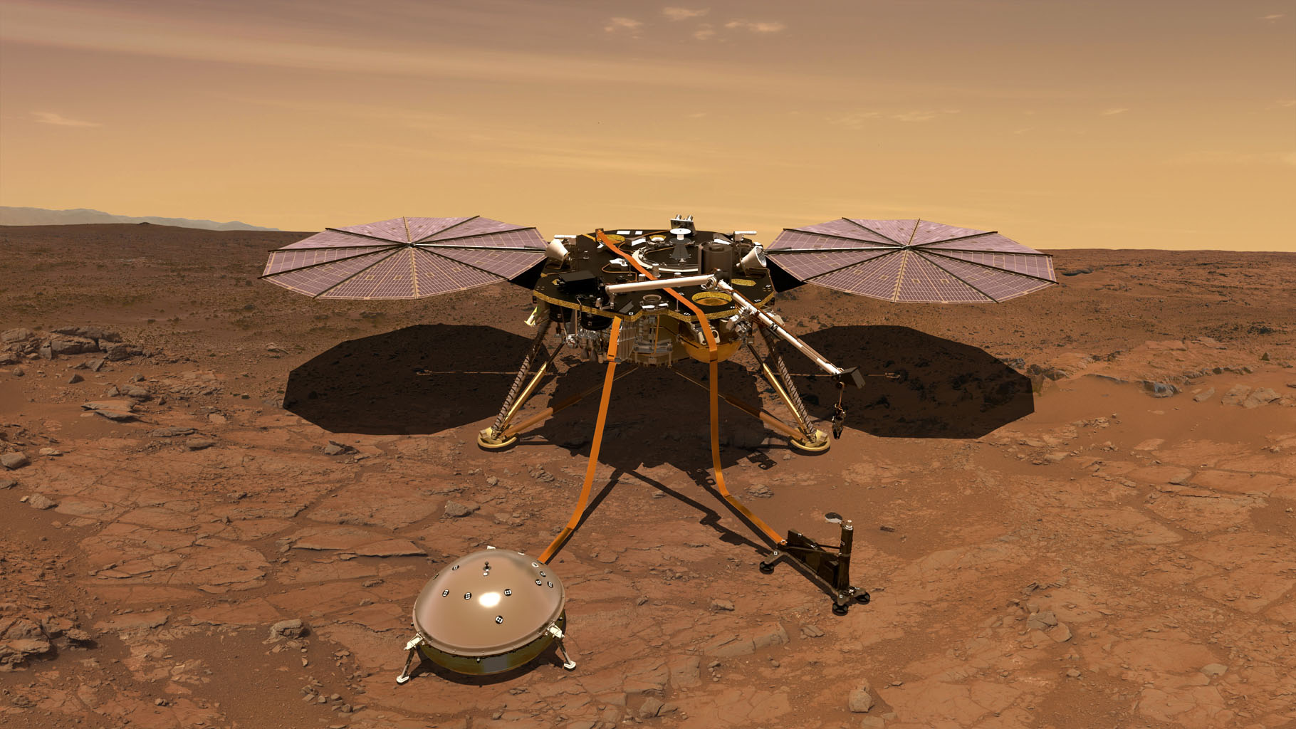 An artist's rendition of NASA's InSight lander operating on the surface of Mars.