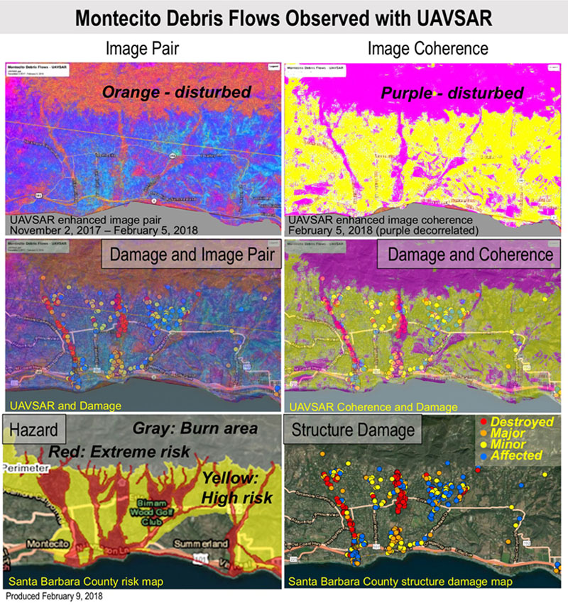 NASA's UAVSAR detected changes caused by severe debris flows as extreme winter rains fell in January 2018 following the Thomas Fire in Ventura and Santa Barbara Counties in California.