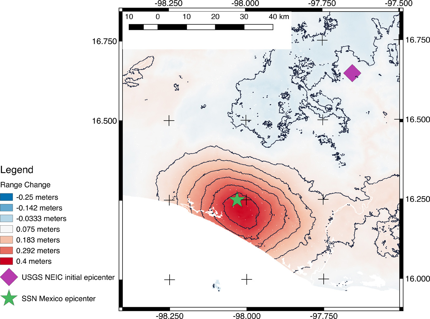 Satellites measure surface deformation due to earthquake 91