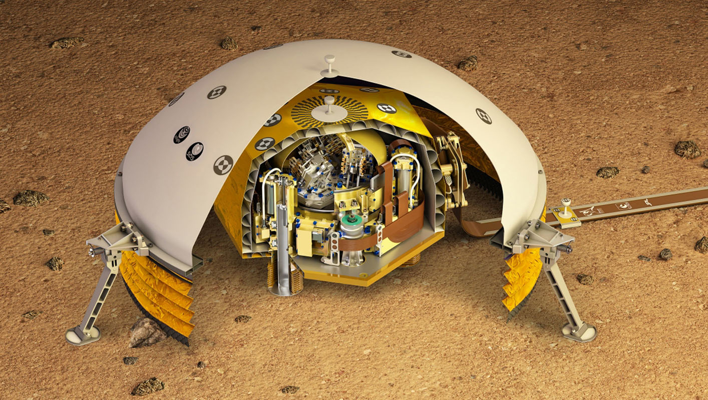 This artist's rendering shows a cutaway of the Seismic Experiment for Interior Structure instrument, or SEIS, which will fly as part of NASA's Mars InSight lander.