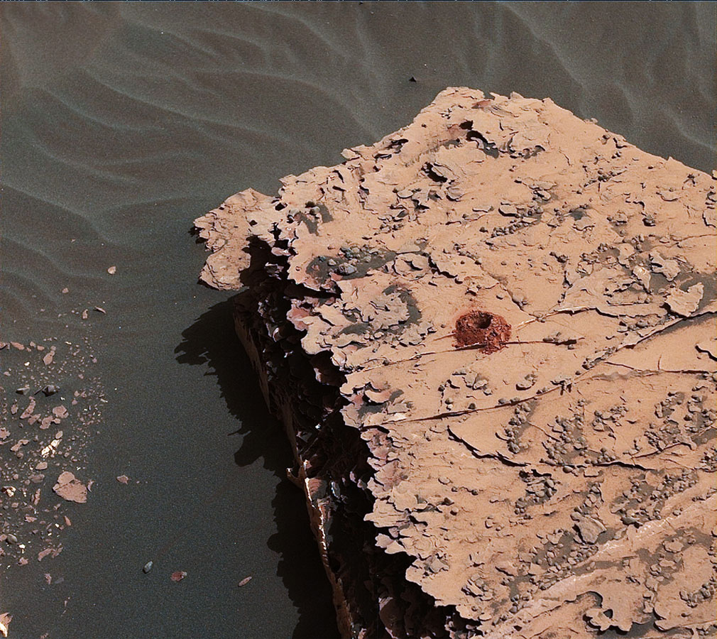 NASA's Curiosity rover successfully drilled a 2-inch-deep hole in a target called 'Duluth' on May 20, 2018. It was the first rock sample captured by the drill since October 2016.