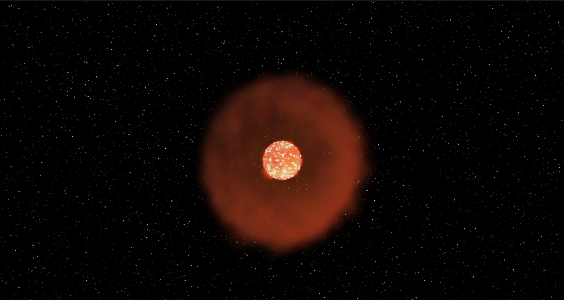 This image from an animation shows a kind of stellar explosion called a Fast-Evolving Luminous Transient. In this case, a giant star 'burp' out a shell of gas and dust about a year before exploding.