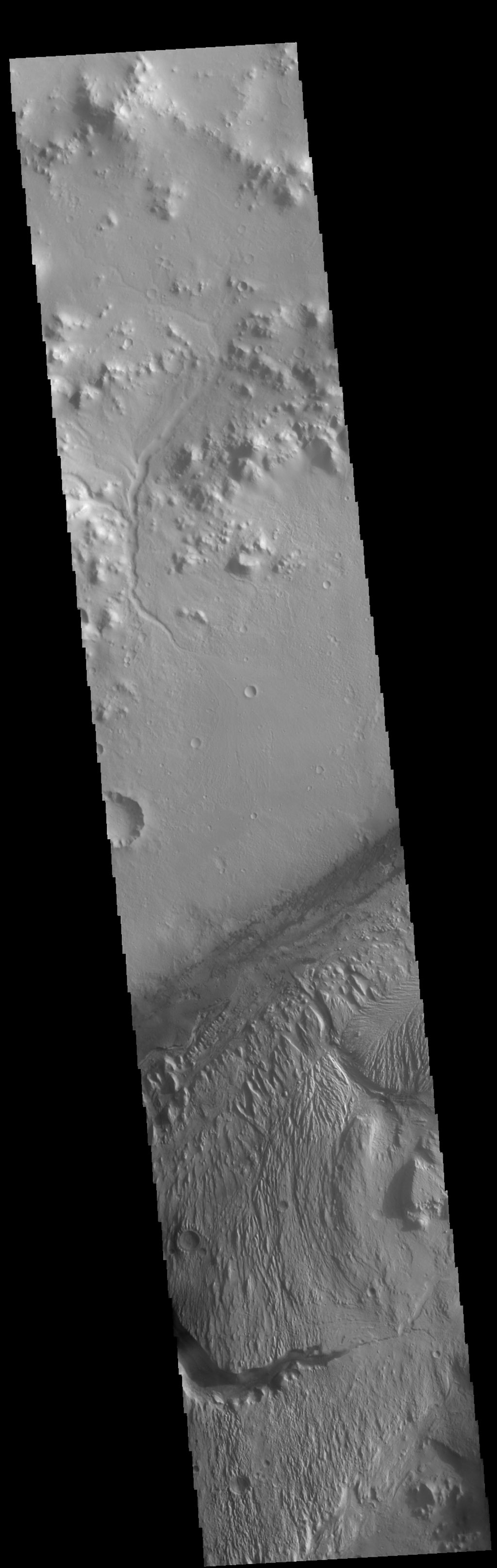 This image captured by NASA's 2001 Mars Odyssey spacecraft shows part of Gale Crater. Gale Crater is the home of the Curiosity Rover.