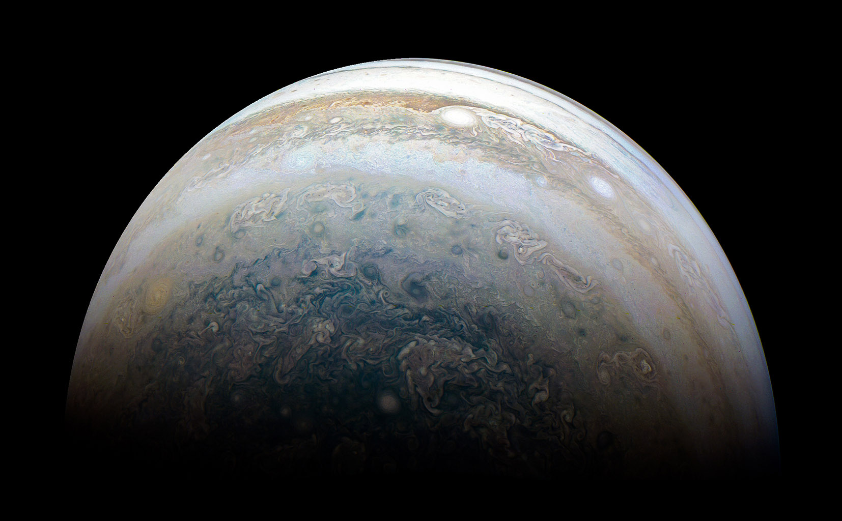 This image of Jupiter's southern hemisphere was captured by NASA's Juno spacecraft on the outbound leg of a close flyby of the gas-giant planet.